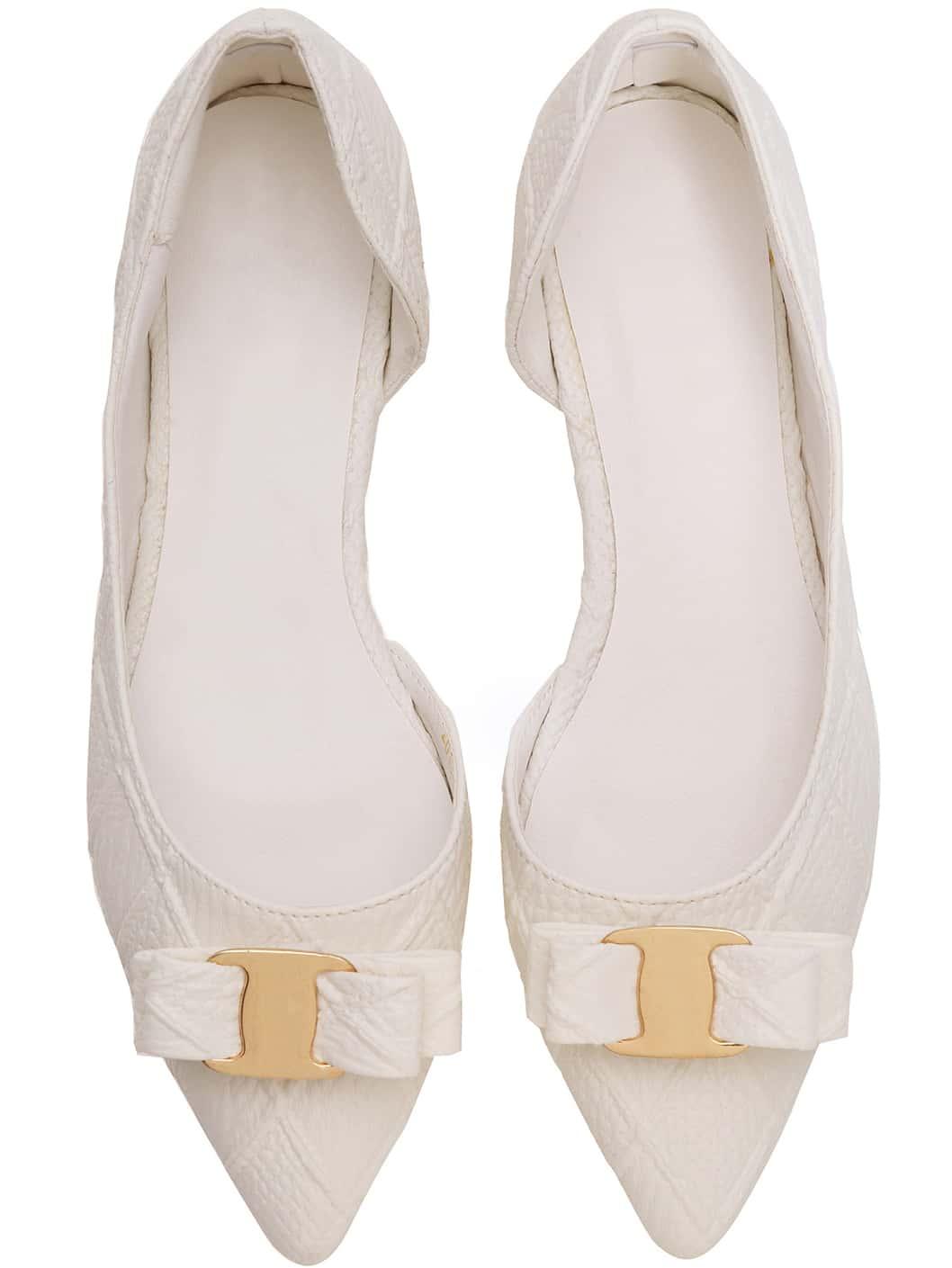 White Point Toe Bow Diamond Pattern Flats -SheIn(Sheinside