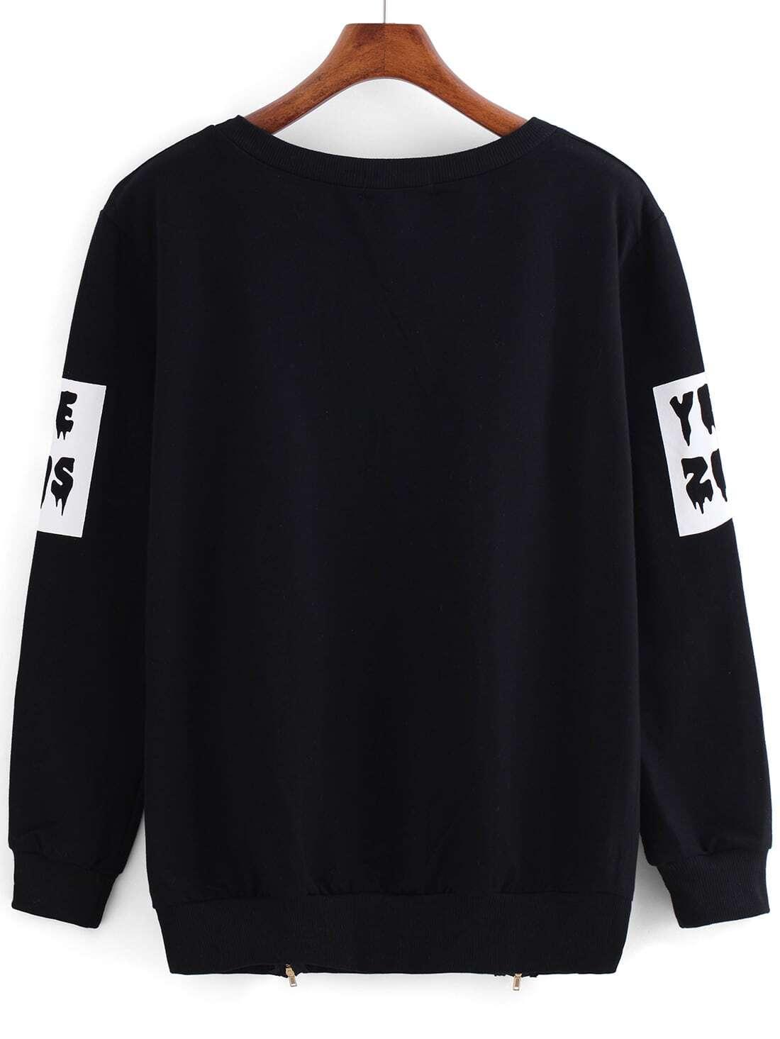Black round neck letters print zipper sweatshirt shein for Letters for sweatshirts