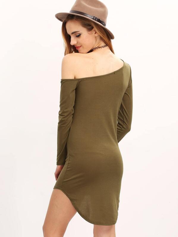 9e6e0ab9f039c Army Green Sateen Pima One-shoulder Long Sleeve Slim Dress | SHEIN