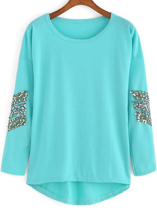 384527472356 Mint Green Round Neck Sequined Dip Hem T-Shirt | SHEIN