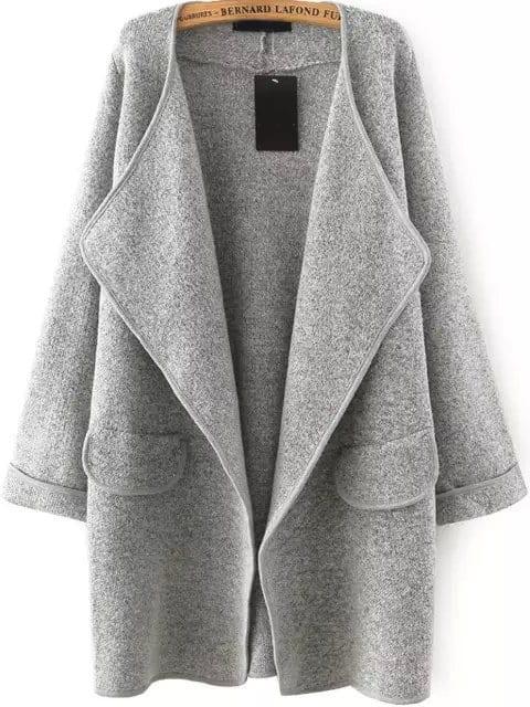 Grey Lapel Long Sleeve Loose Sweater Coat Sheinsheinside