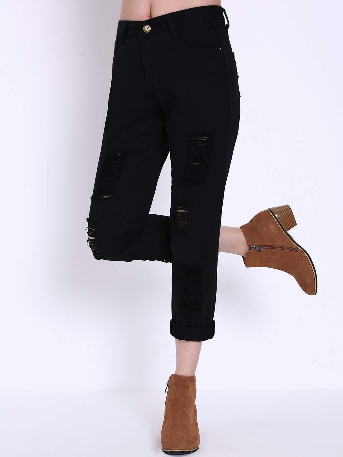 pantalon en denim d chir noir french shein sheinside. Black Bedroom Furniture Sets. Home Design Ideas