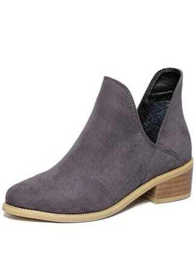 918a35e7f2f Grey Chunky Heel Round Toe Casual Boots