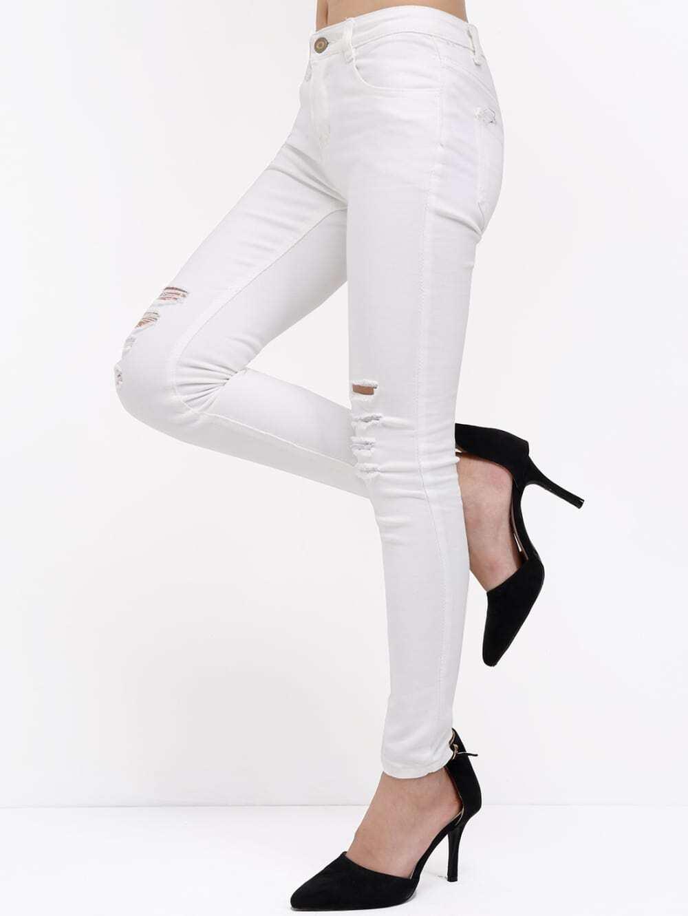 pantalon franges en denim blanc french shein sheinside. Black Bedroom Furniture Sets. Home Design Ideas
