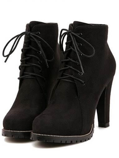 0a8caf3895 Black Platform Lace Up Rugged High Heeled Boots | SHEIN