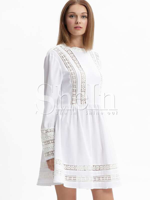 White Long Sleeve With Lace Babydoll Dress Sheinsheinside