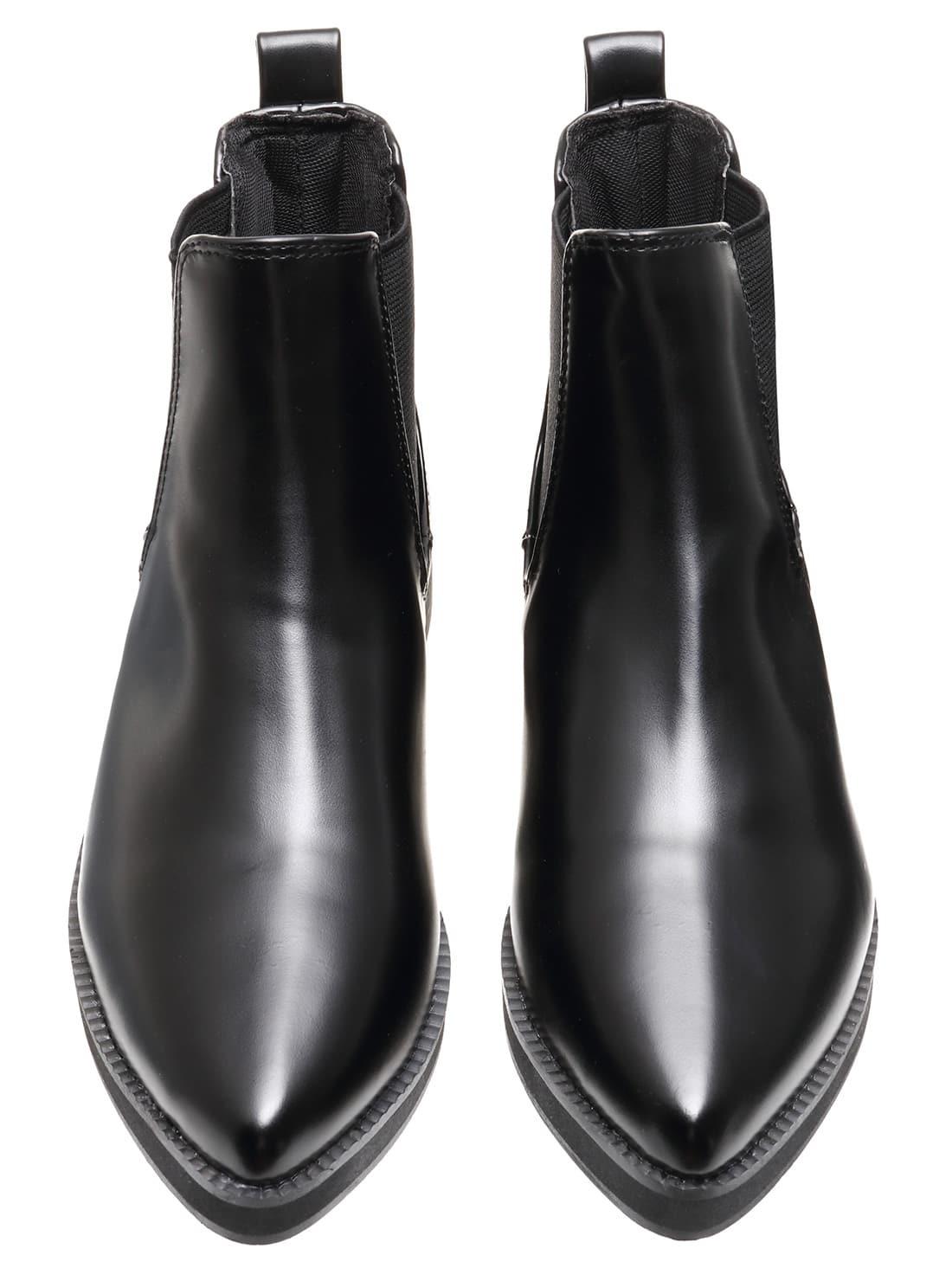 black pointy elastic pu flat boots shein sheinside