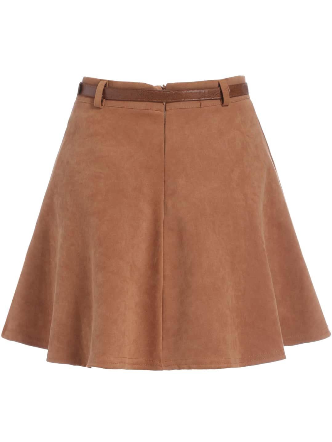 khaki high waist flare skirt shein sheinside