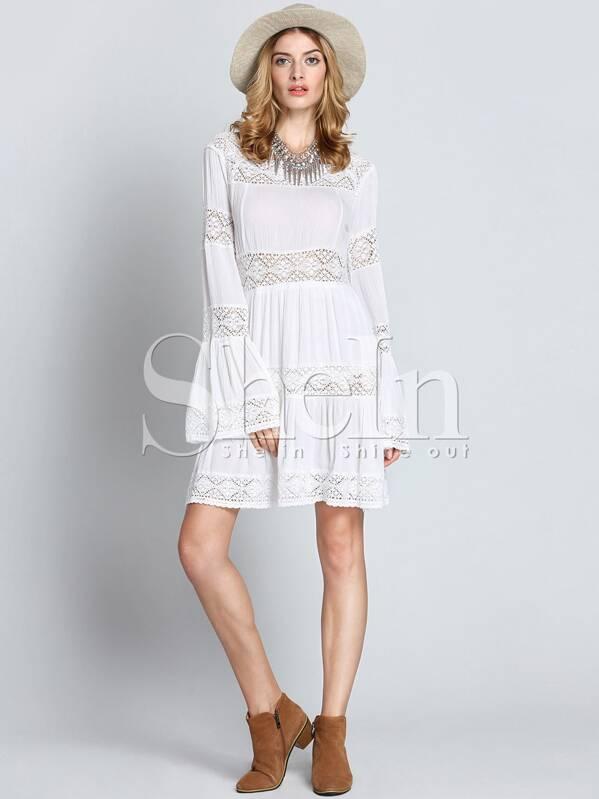 белое вязаное кружевное платье с длинынми рукавами Shein