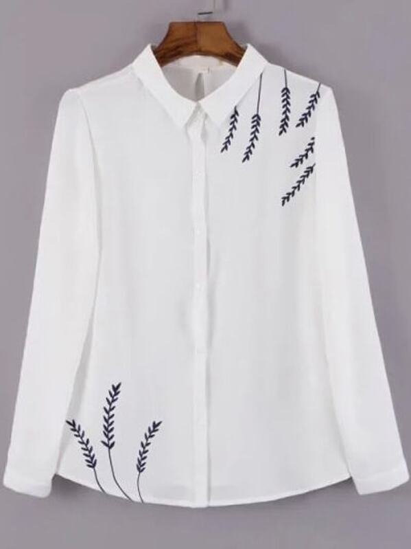 39782b83bad80 White Lapel Leaves Embroidered Loose Blouse -SHEIN(SHEINSIDE)