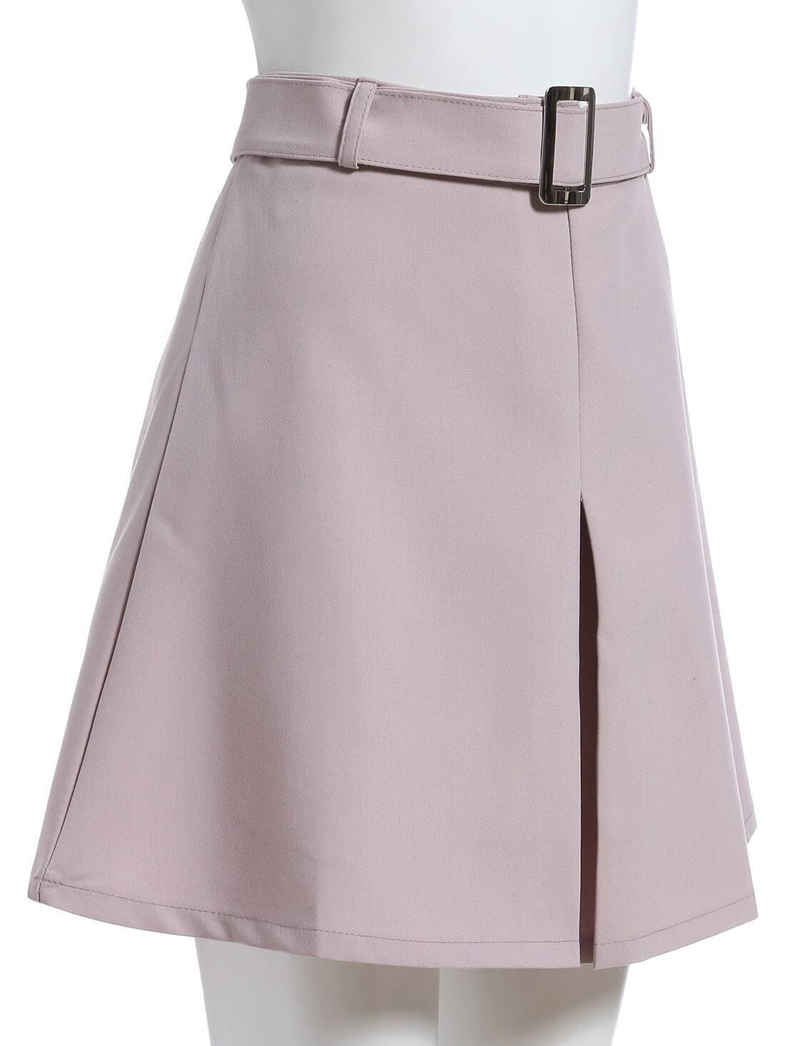 grey belt a line skirt shein sheinside