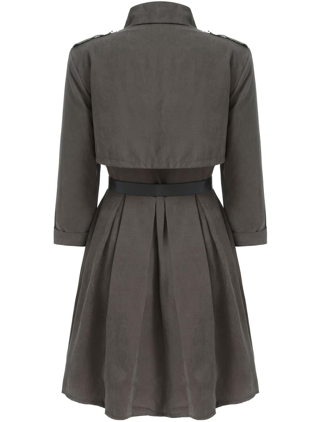 grey lapel belt pleated dress shein sheinside