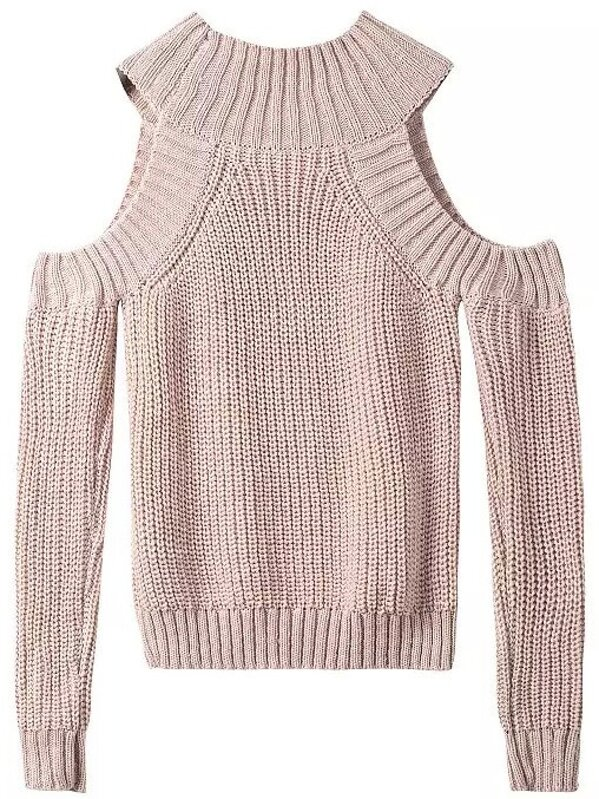 Apricot Off The Shoulder Knit Sweater Sheinsheinside