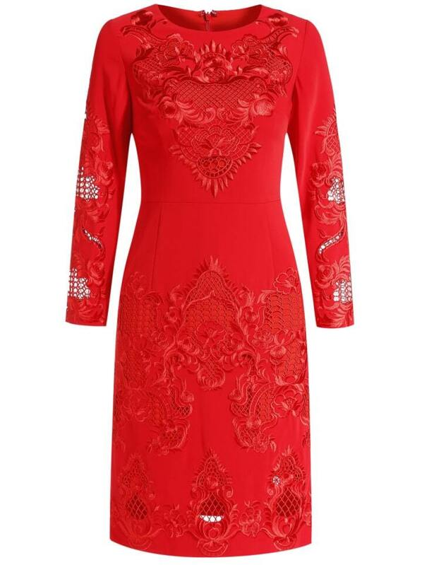 7e131d7f4134 Red Round Neck Long Sleeve Embroidered Hollow Dress -SHEIN(SHEINSIDE)