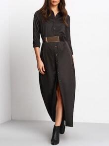 Black Informal Long Sleeve Split Maxi Dress