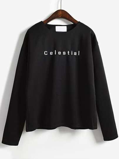 última moda estilo único mejor selección Camiseta manga larga letra -negro