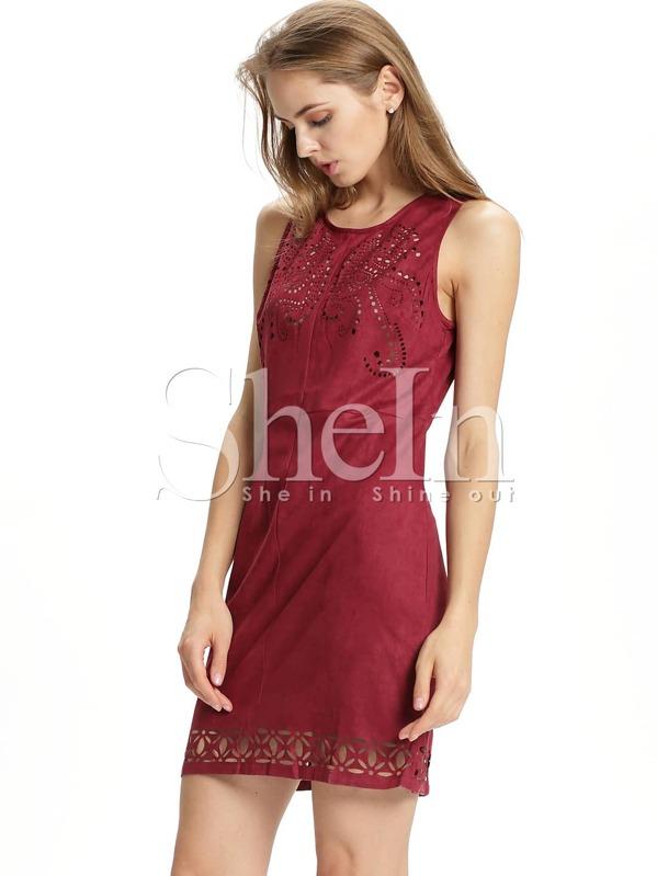 cfb109894938e Burgundy Sleeveless Hollow Dress -SheIn(Sheinside)