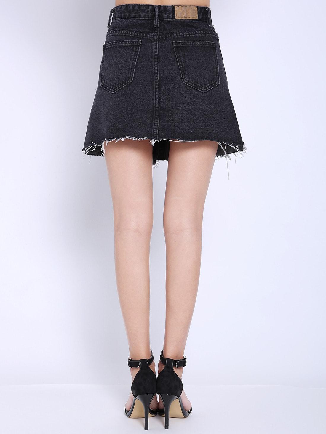 black pockets buttons denim skirt shein sheinside