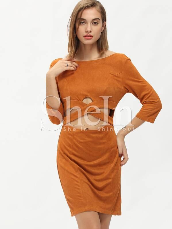 cbec5854e69c49 rückenfreies Kleid Langarm mit Einschnitte-braun | SHEIN