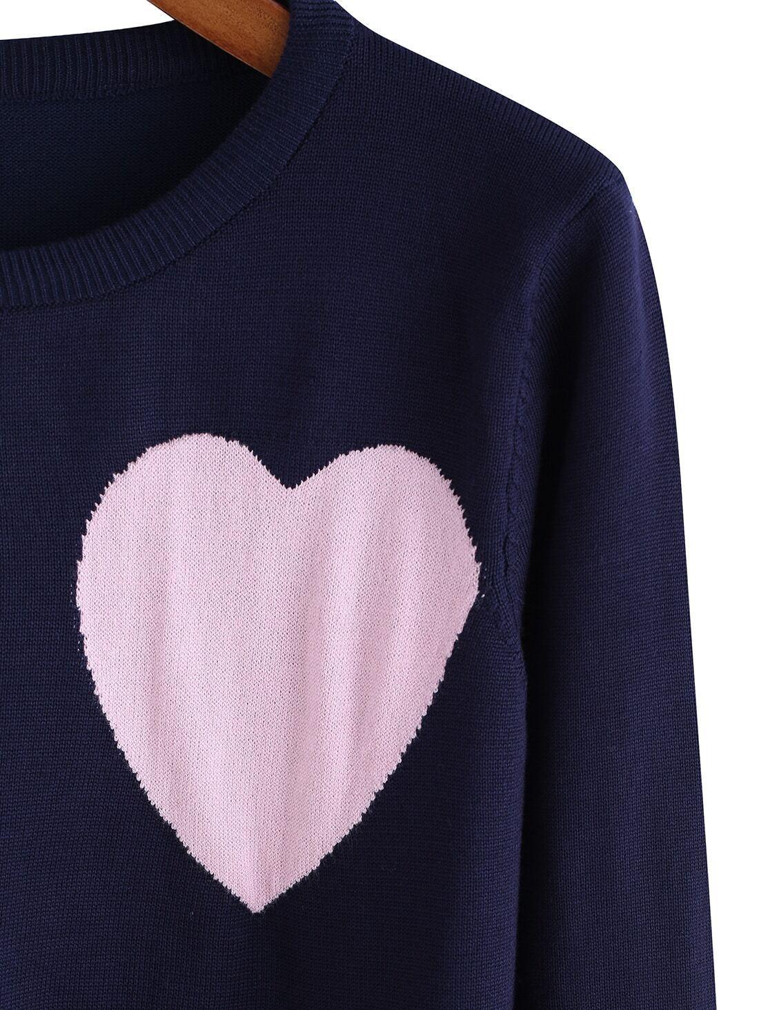 Blue Round Neck Heart Pattern Knit Sweater -SheIn(Sheinside)