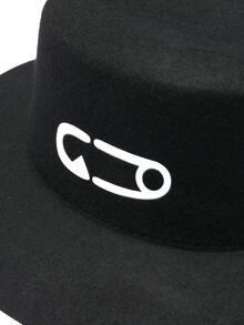 5f4c779bb9c923 Black Pin Print Round Hat | SHEIN