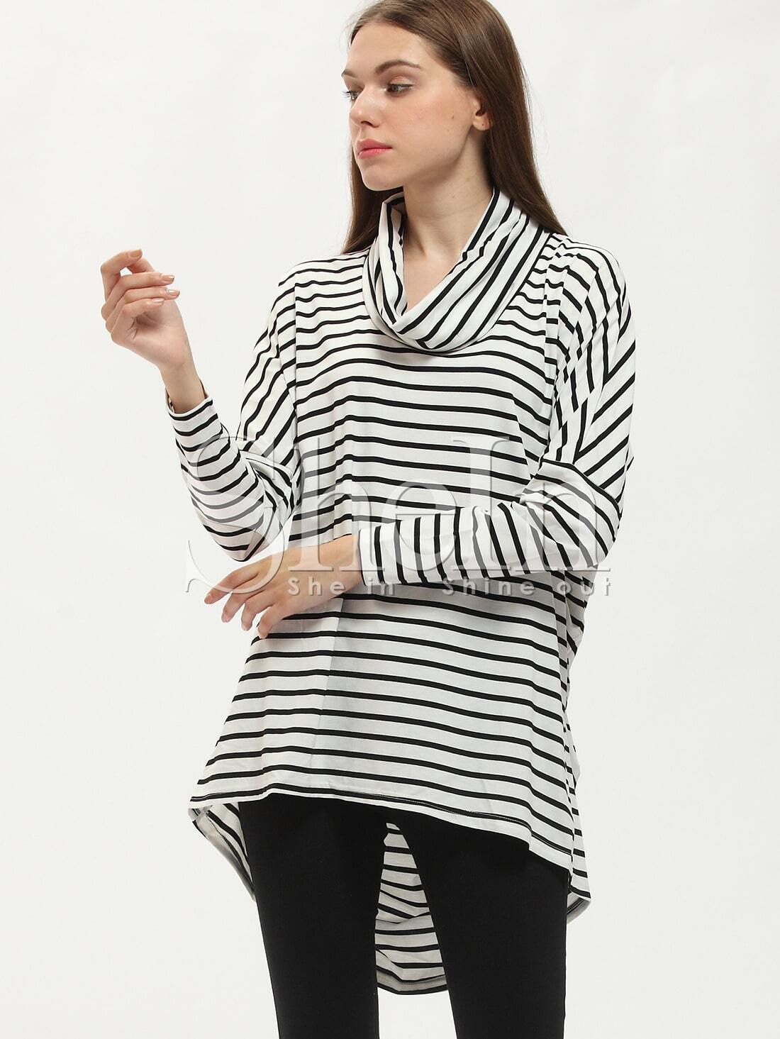 Black white high neck striped t shirt shein sheinside for High neck tee shirts