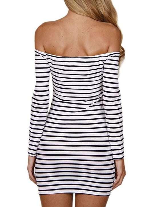 5792a60a4d4c Cheap Black White Off the Shoulder Striped Bodycon Tube Dress for sale  Australia