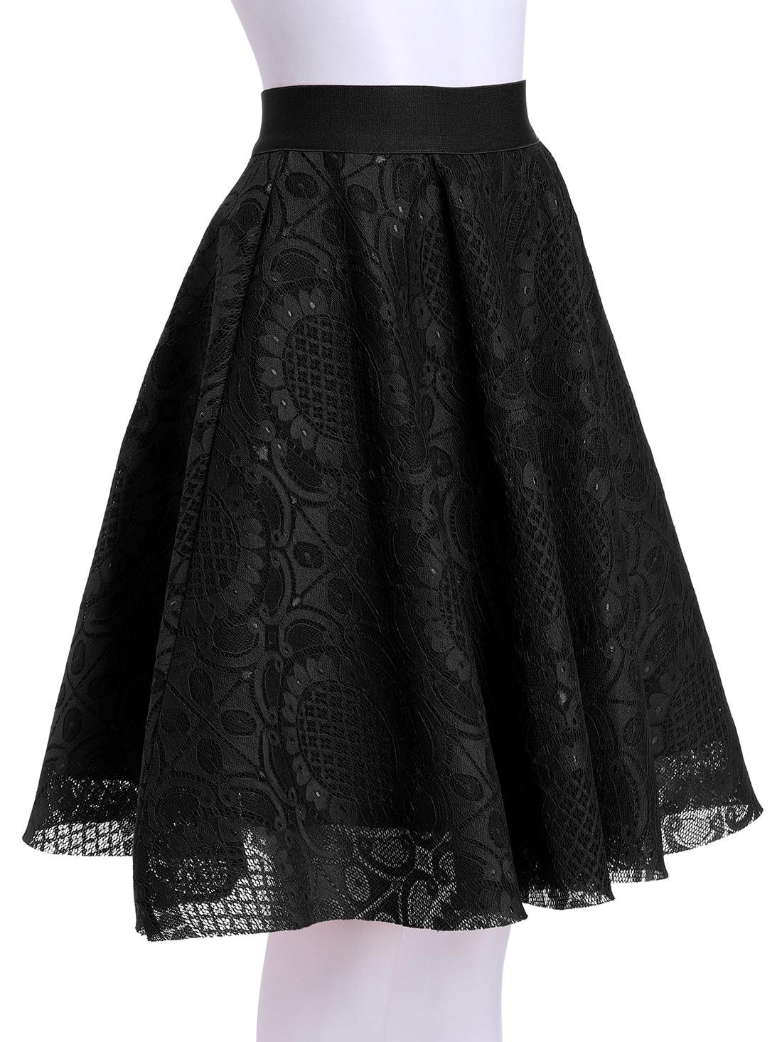 black high waist lace flare skirt shein sheinside