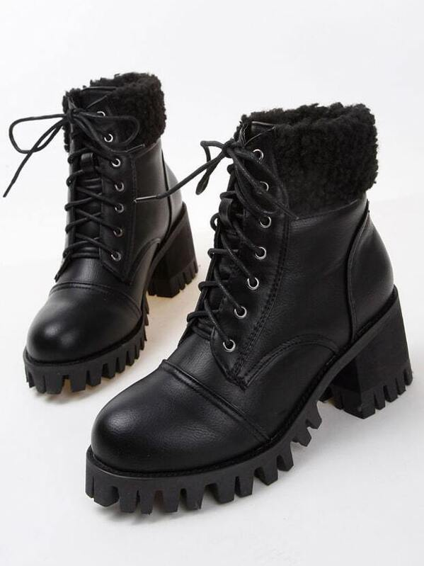 2ce68e0f06 Cheap Black Vintage Lace Up Chunky Boots for sale Australia | SHEIN