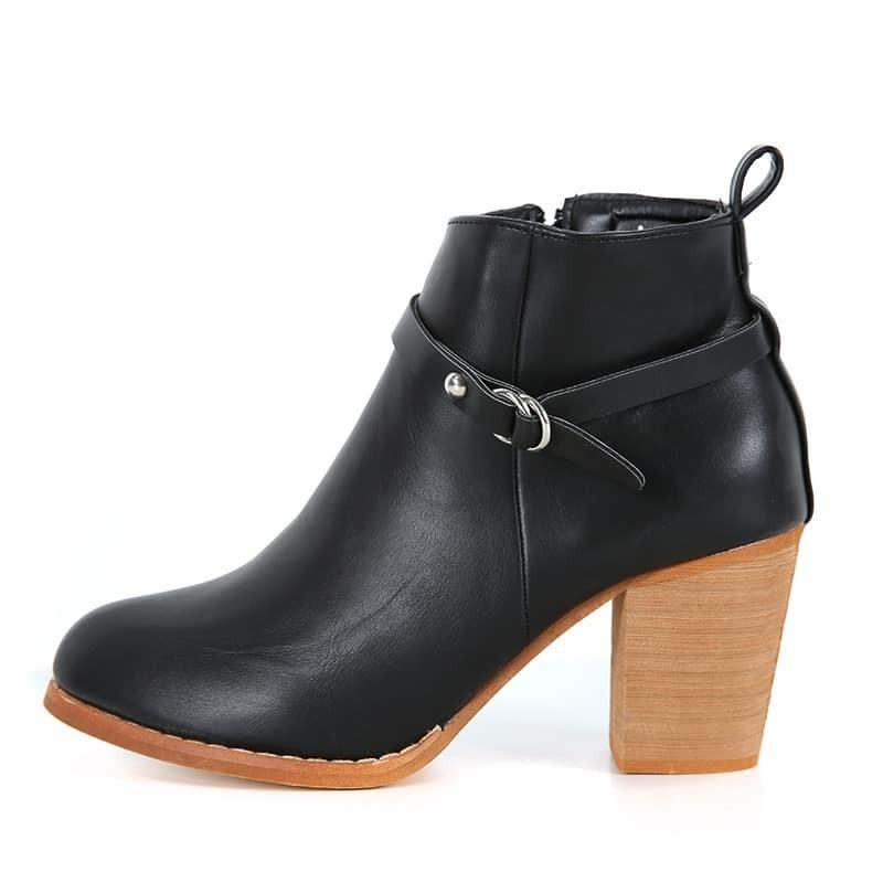 black chunky heel buckle boots shein sheinside