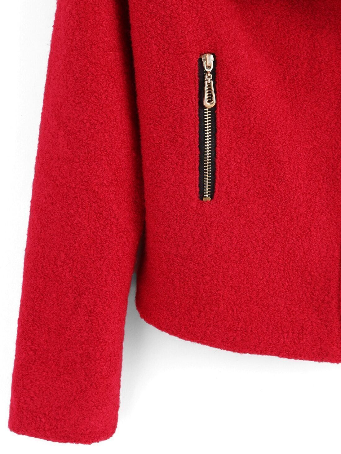 kurzer wollmantel revers mit rei verschluss rot german. Black Bedroom Furniture Sets. Home Design Ideas
