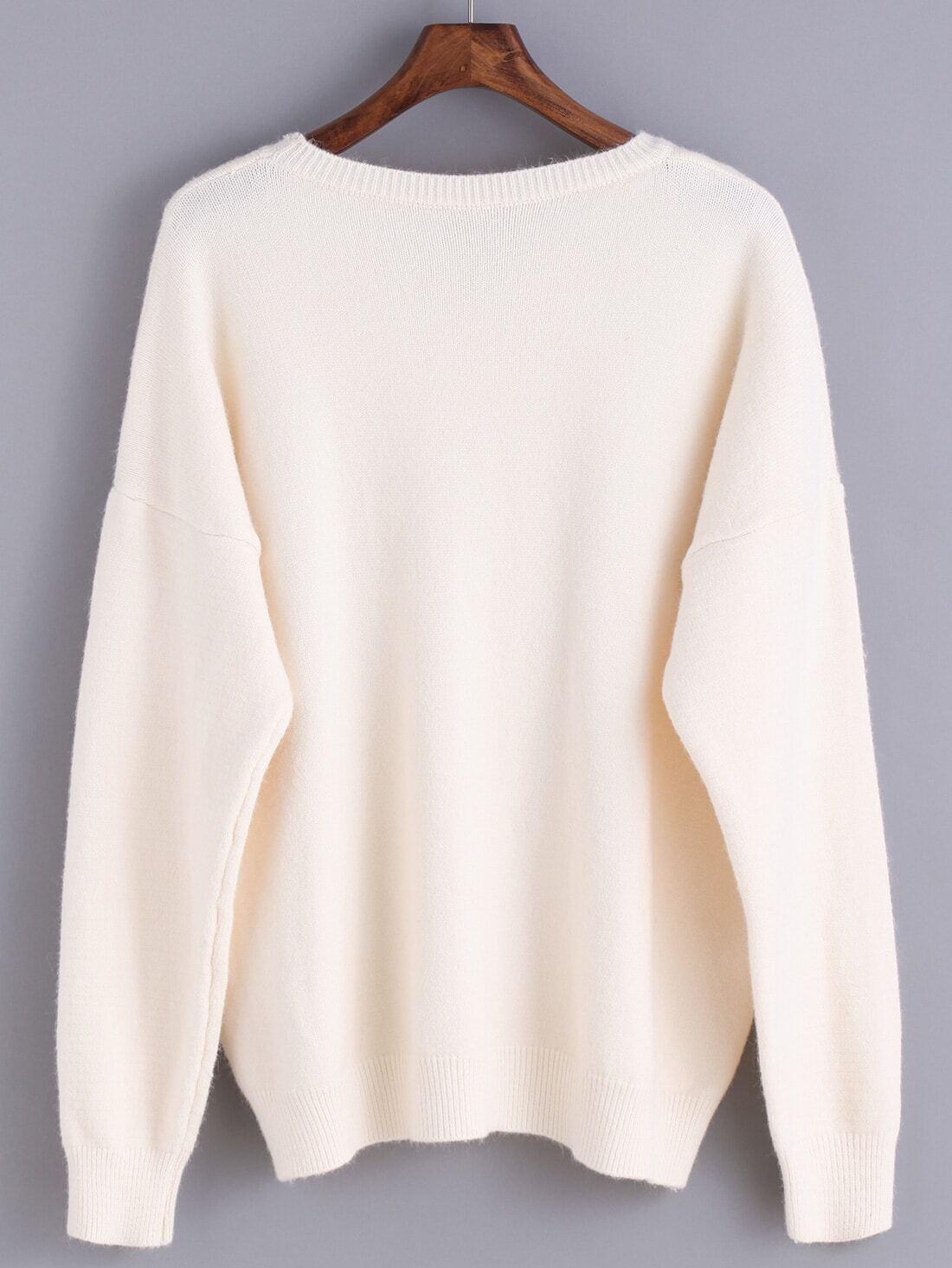 Round Neck Sweater Knitting Pattern : Round Neck Knit Beige Sweater -SheIn(Sheinside)