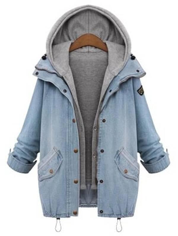 177b2feed6 Hooded Drawstring Boyfriend Trends Jean Swish Pockets Two Piece Coat   SHEIN