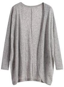Long Sleeve Loose Grey Cardigan -SheIn(Sheinside)