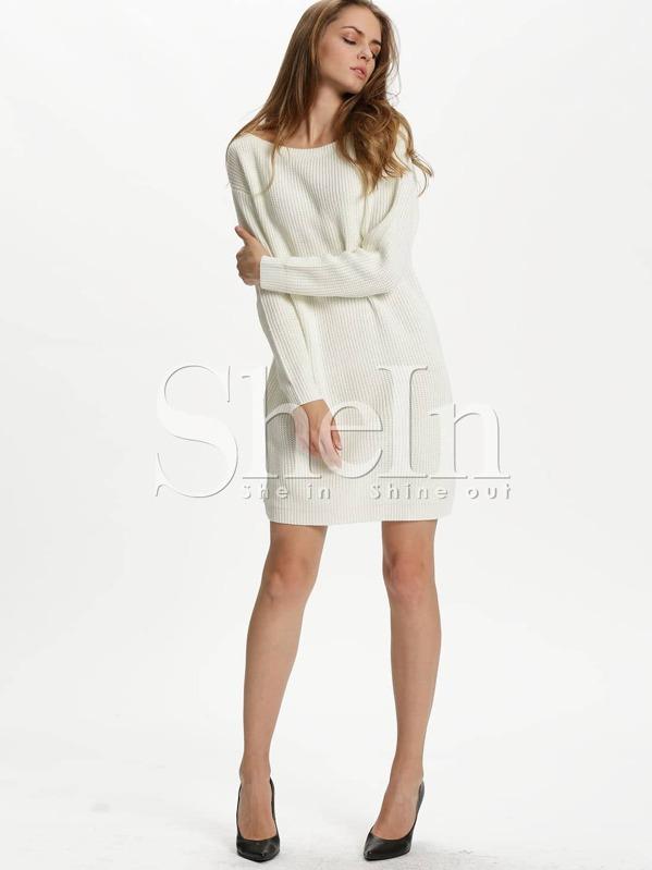877546973128 White Long Sleeve Designer Bodycon Dress