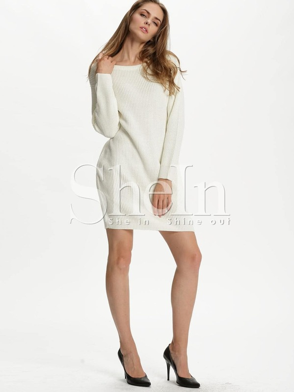 6d261f0379 White Long Sleeve Designer Bodycon Dress | SHEIN
