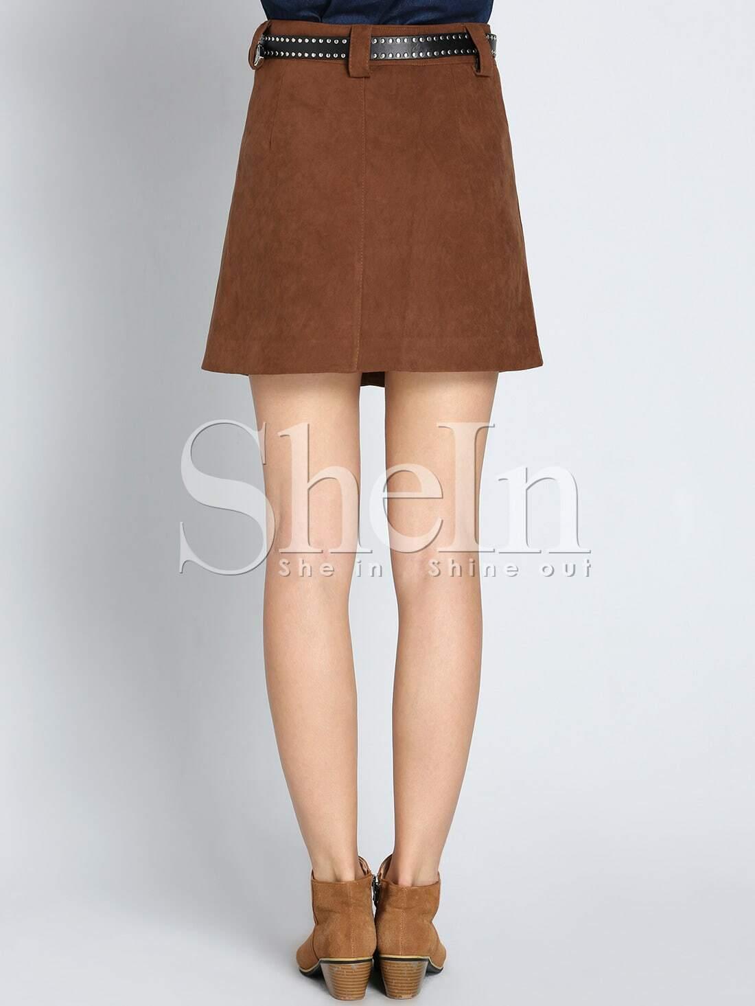 brown a line with button skirt shein sheinside
