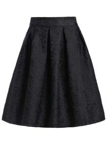 Чёрная жаккардовая миди юбка