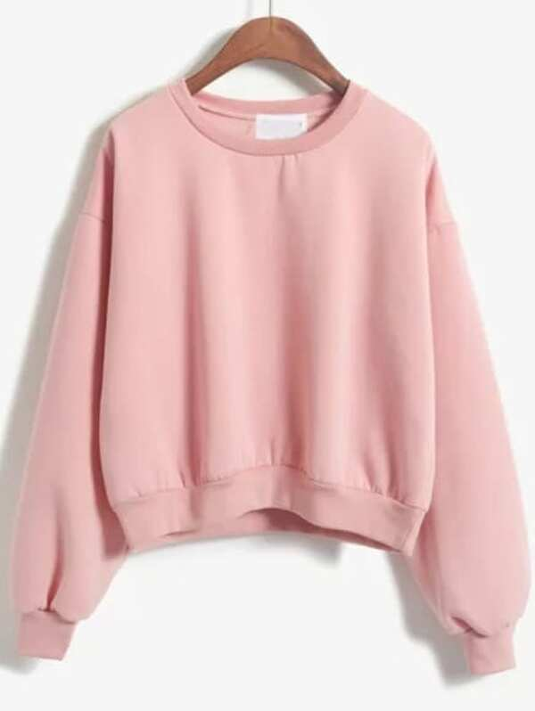 75355de2a4c Crew Neck Crop Sweatshirt | SHEIN IN