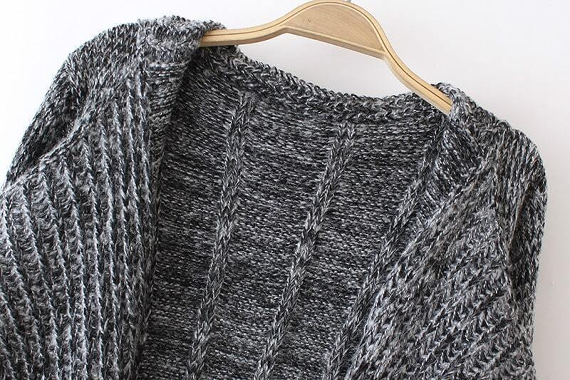 Loose Knit Shawl Pattern : Grey Shawl Collar Pockets Loose Knit Cardigan -SheIn(Sheinside)