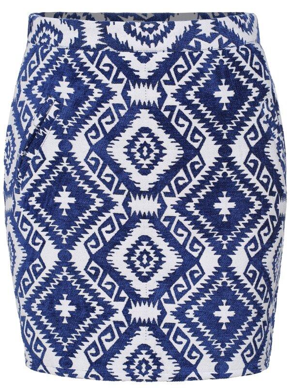 e84b390b6 Jupe moulante motif losange -bleu blanc