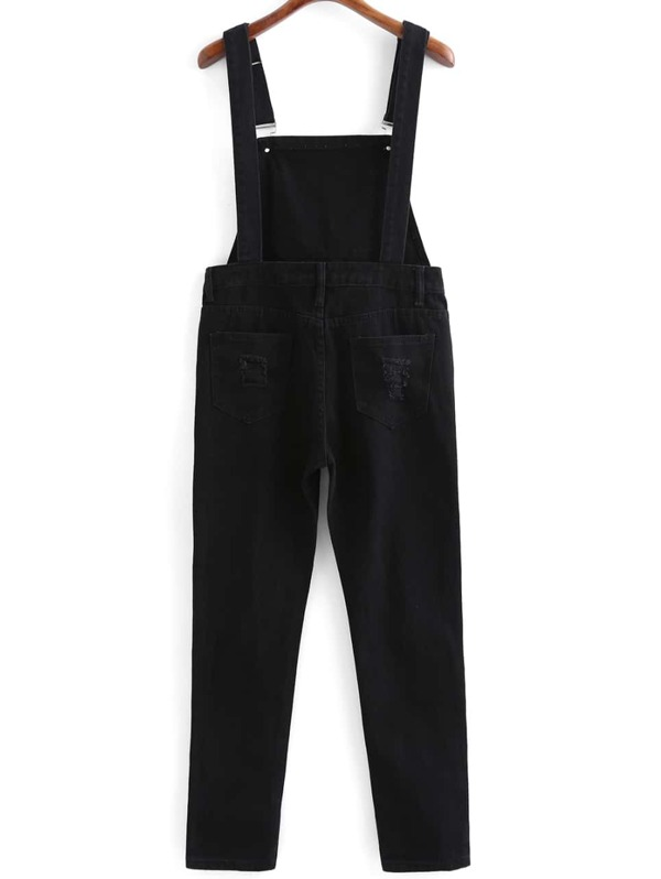 94c35a5bcef6 Strap With Pocket Ripped Denim Jumpsuit