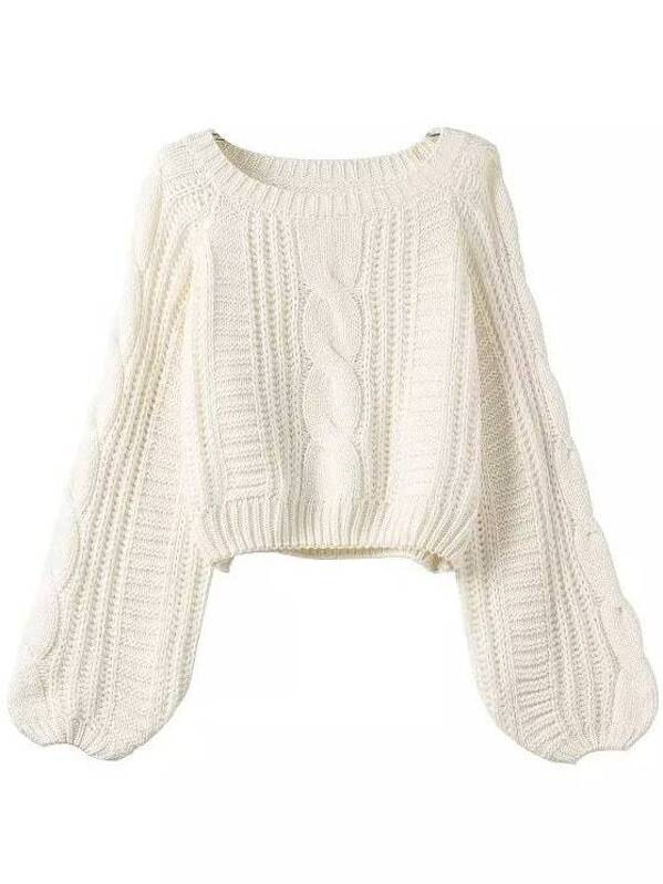 Puff Sleeve Cable Knit Sweater -SHEIN(SHEINSIDE)