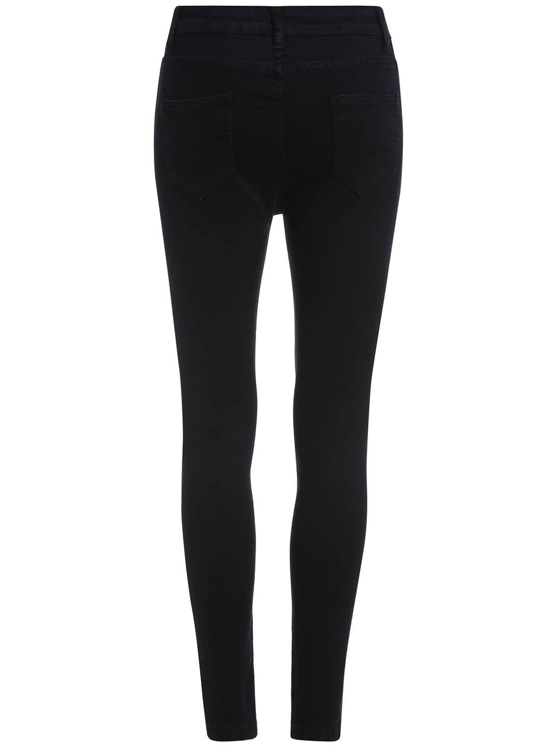 pantalon en denim moulant noir french shein sheinside. Black Bedroom Furniture Sets. Home Design Ideas