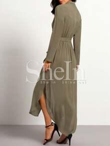 6ac4870315 Tie Waist Split Maxi Dress With Pockets | SHEIN
