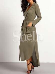 a6eed3ce56 Tie Waist Split Maxi Dress With Pockets | SHEIN
