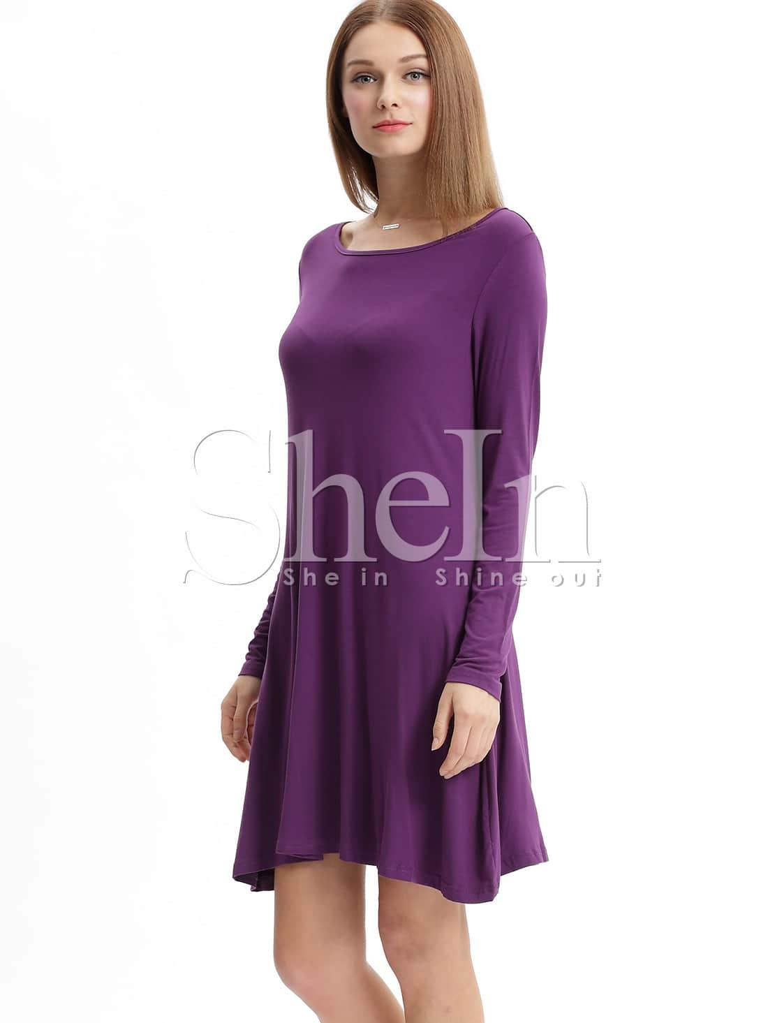 Vestido manga larga casual -violeta-Spanish SheIn(Sheinside)