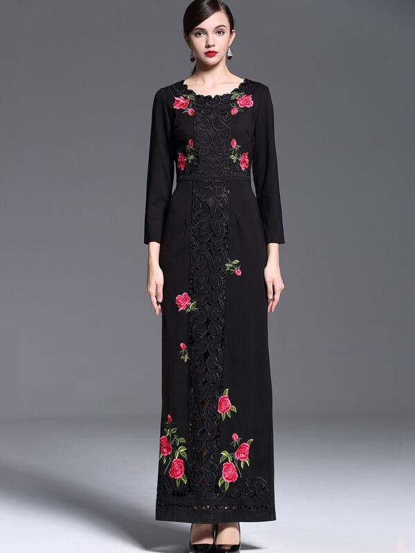 599af2db85 Black Round Neck Long Sleeve Embroidered Dress