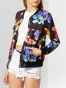Black Long Sleeve Floral Jacket