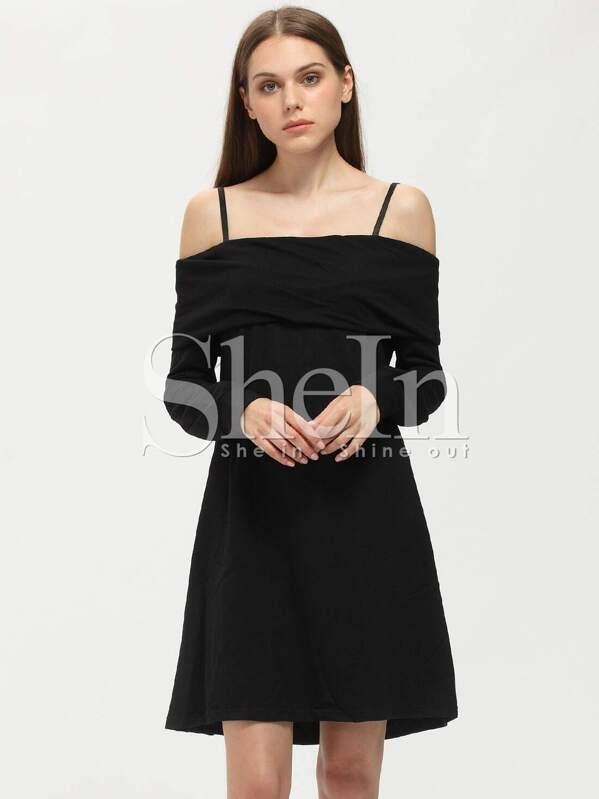 1c8436058c Black Long Sleeve Off The Shoulder Dress | SHEIN UK